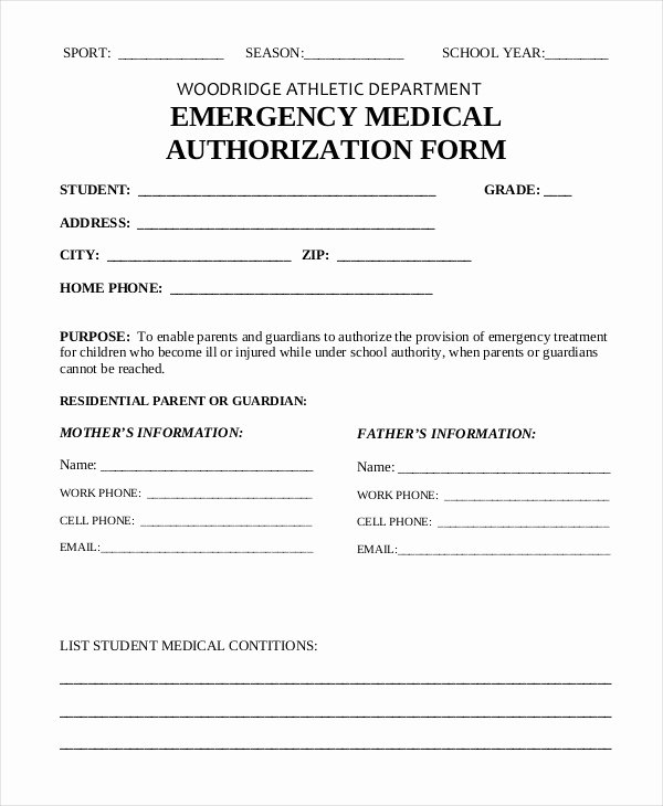 Emergency Medical form Template Inspirational 10 Printable Medical Authorization forms Pdf Doc