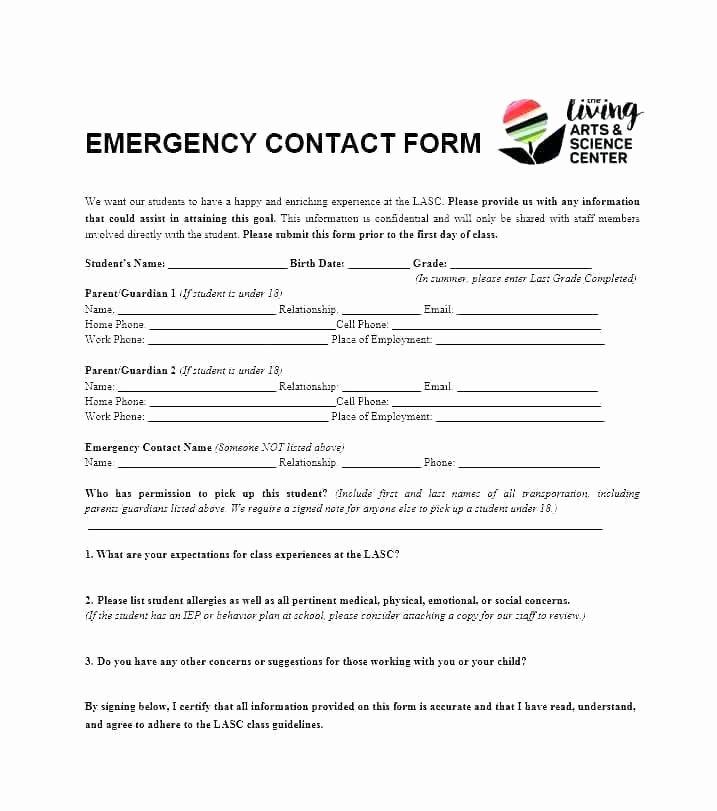 Emergency Medical form Template Luxury Emergency form Template Emergency Contacts form Templates