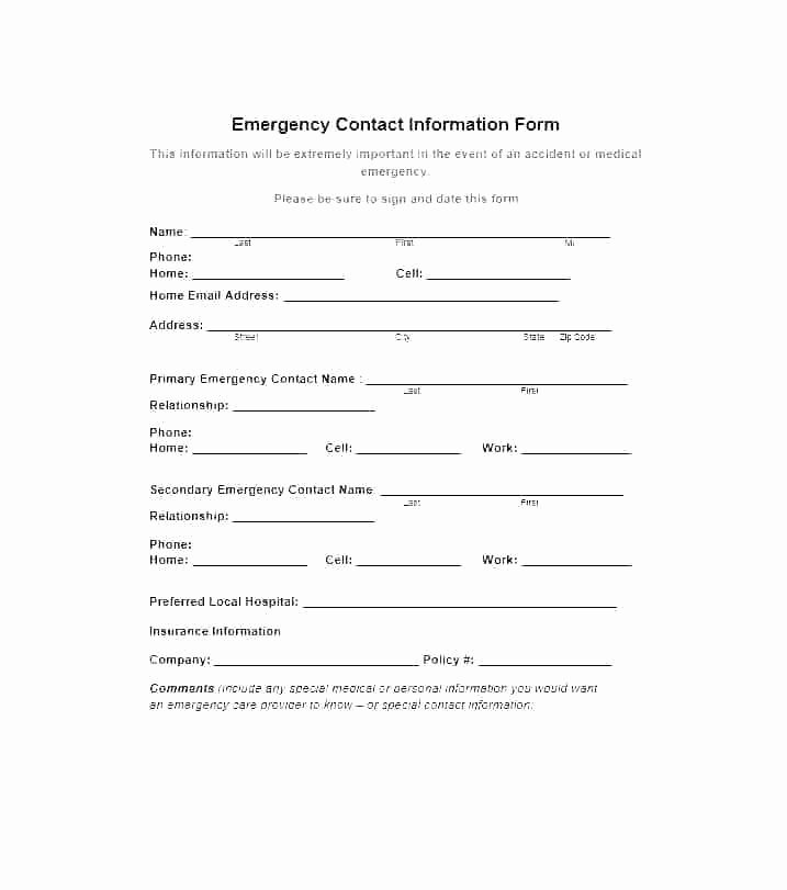 Emergency Medical form Template Luxury Emergency Medical form Template – Falgunpatel