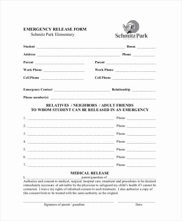 Emergency Medical form Template Unique Sample Emergency Release forms 8 Free Documents In Pdf