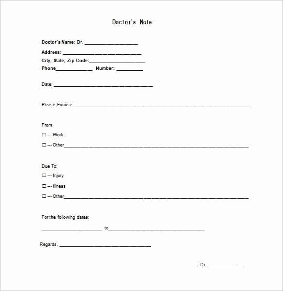 Emergency Room Doctor Note Template Best Of 9 Doctor Note Templates Word Excel Pdf formats