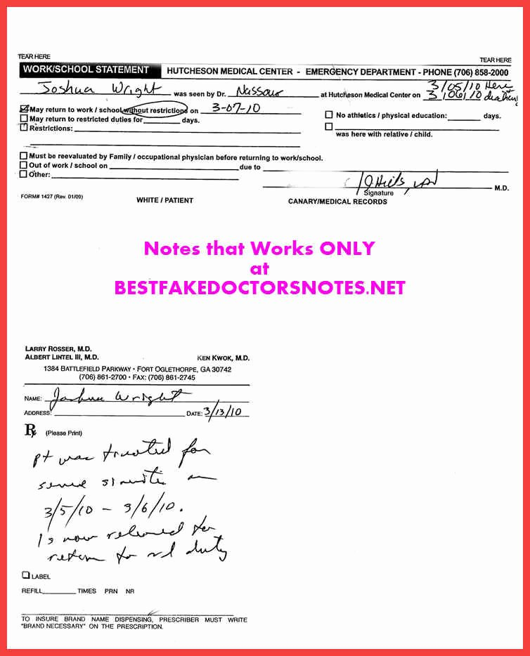 Emergency Room Doctor Note Template Inspirational Emergency Room Doctors Note
