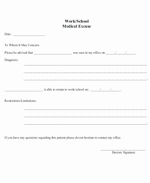 Emergency Room Doctor Note Template New Doctors Note From Urgent Care Fake – Ooojo