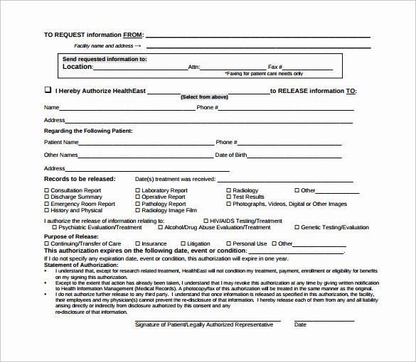 Emergency Room form Template Awesome 12 Hospital Release forms to Download for Free