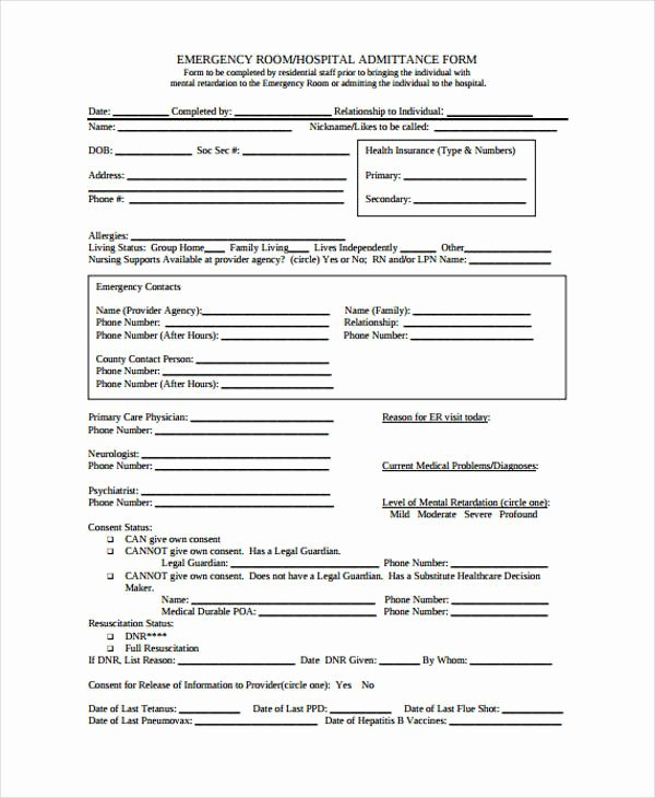 Emergency Room form Template Fresh 21 Emergency Release form Example