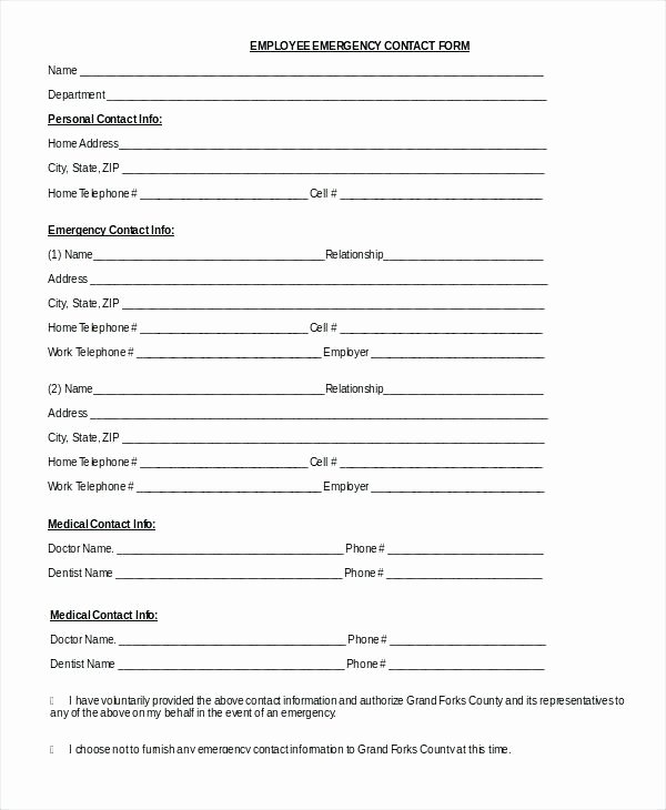 Emergency Room form Template Inspirational Emergency form Template Emergency Medical form Template