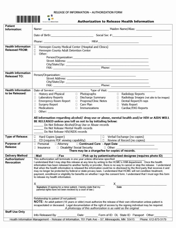 Emergency Room form Template Lovely 40 Medical Records Release form Release Of Information
