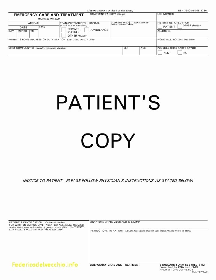 Emergency Room form Template New 29 Hospital Discharge Papers Template