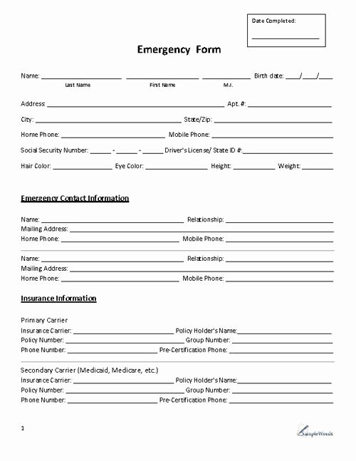 Emergency Room form Template New Emergency form Contact Business forms