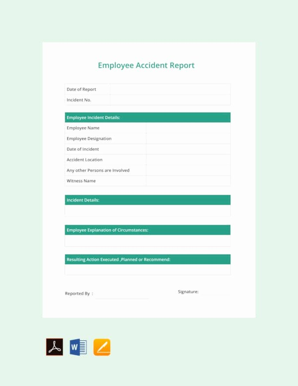 Employee Accident Report Template Awesome 13 Accident Report Templates Pdf Doc