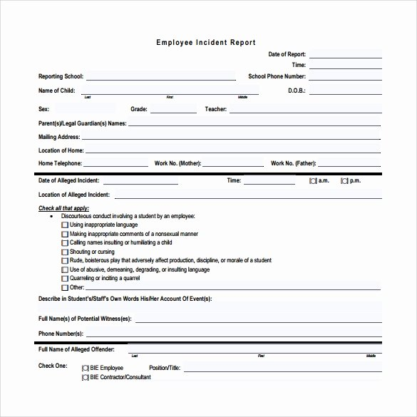 Employee Accident Report Template Awesome 15 Employee Incident Report Templates – Pdf Word Pages