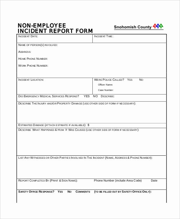 Employee Accident Report Template Beautiful 39 Incident Report Examples & Samples Pdf Doc Pages