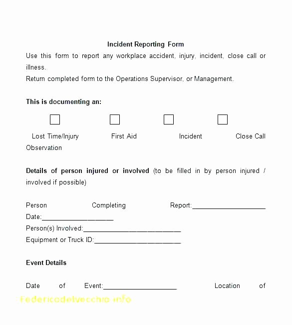 Employee Accident Report Template Beautiful Sample Employee Incident Report form Template Free