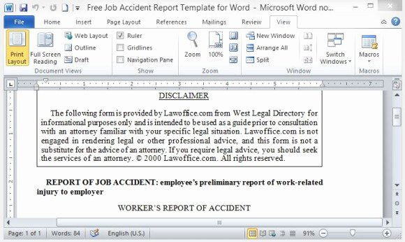 Employee Accident Report Template Best Of Free Job Accident Report Template for Word