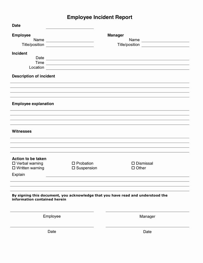Employee Accident Report Template Elegant 10 Incident Report Templates Word Excel Pdf formats