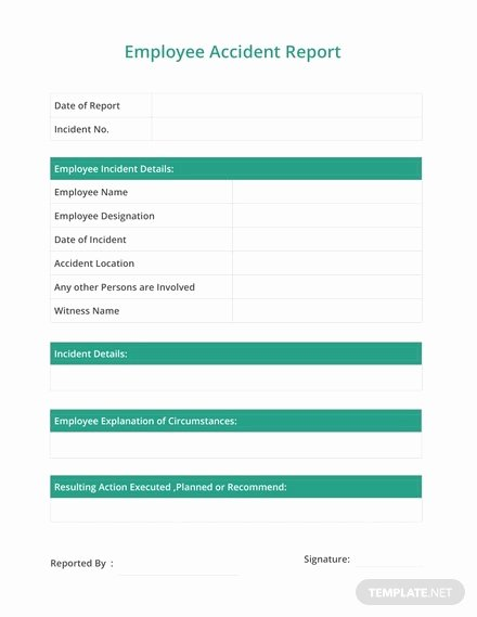 Employee Accident Report Template Elegant Employee Handover Report Template Download 154 Reports