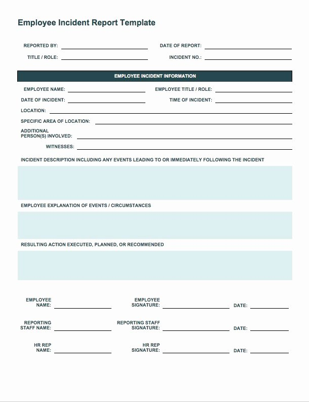 Employee Accident Report Template Fresh Free Incident Report Templates Smartsheet