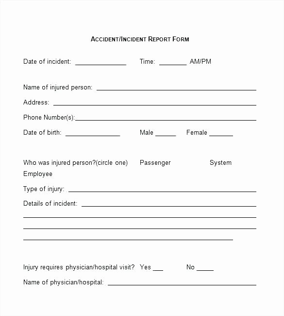 Employee Accident Report Template Inspirational Employee Accident Report form Template Incident Fire