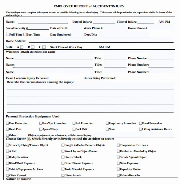 Employee Accident Report Template Lovely 12 Sample Accident Report Templates – Pdf Word Pages