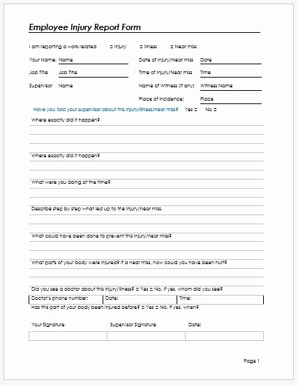 Employee Accident Report Template Lovely Employee Injury Report form Template