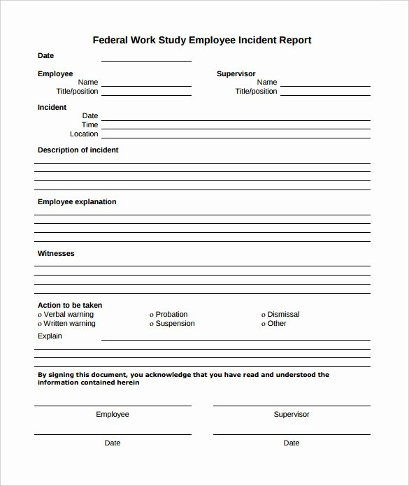 Employee Accident Report Template Luxury 15 Employee Incident Report Templates – Pdf Word Pages