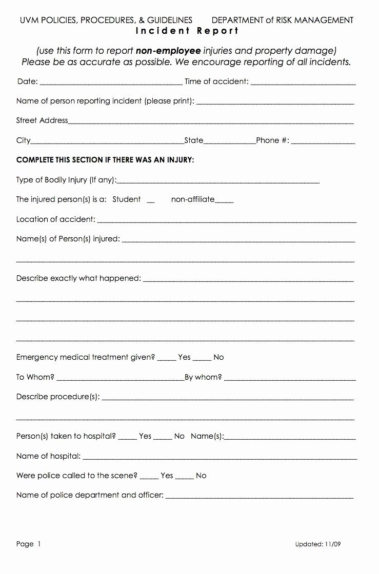 Employee Accident Report Template Luxury form Injury form Template