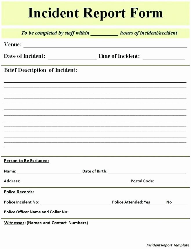 Employee Accident Report Template Unique Employee Incident Report form Doc