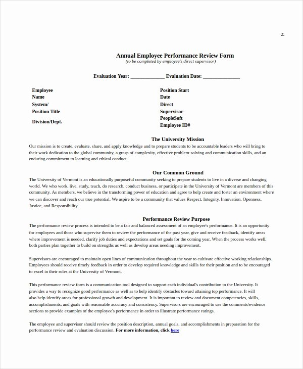 Employee Annual Review Template Fresh Employee Review Templates 10 Free Pdf Documents