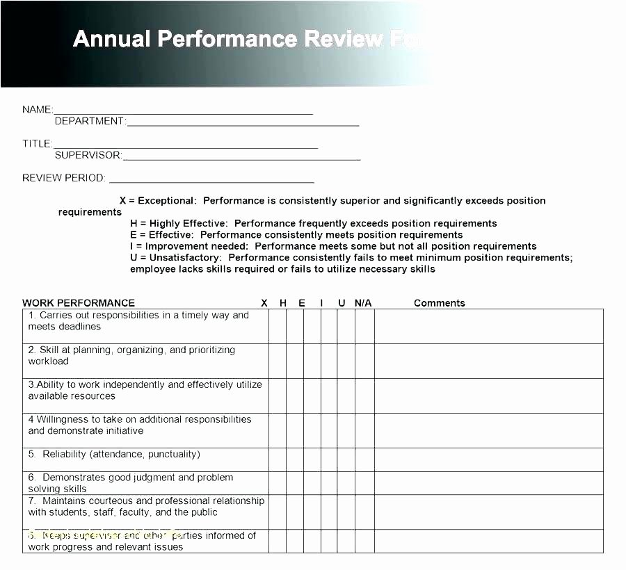 Employee Annual Review Template Fresh Workplace Performance Review Template Employee