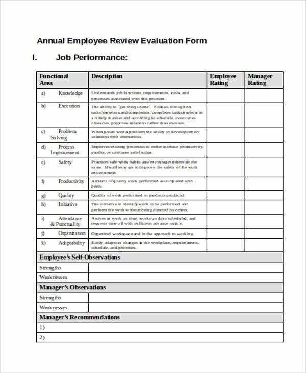 Employee Annual Review Template Lovely Employee Annual Review forms Christopherbathum