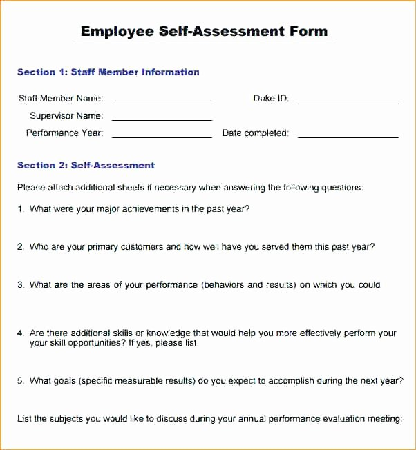 Employee Annual Review Template Luxury Sample Employee Appraisal forms Free Example for
