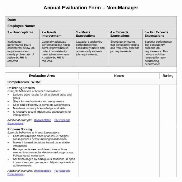 Employee Annual Review Template New 41 Sample Employee Evaluation forms to Download