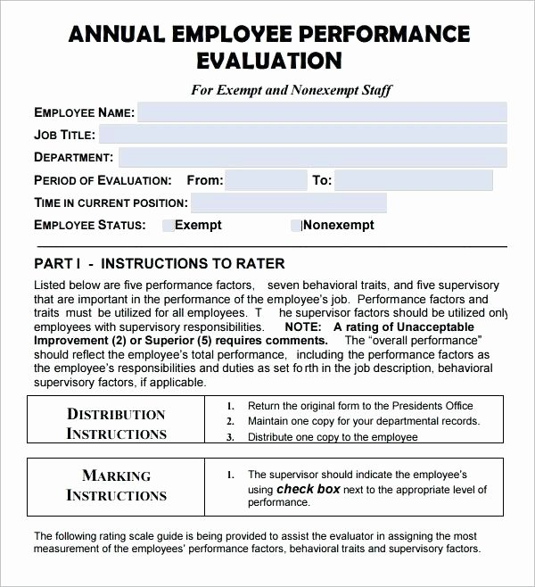 Employee Annual Review Template New Annual Performance Evaluation Template Employee