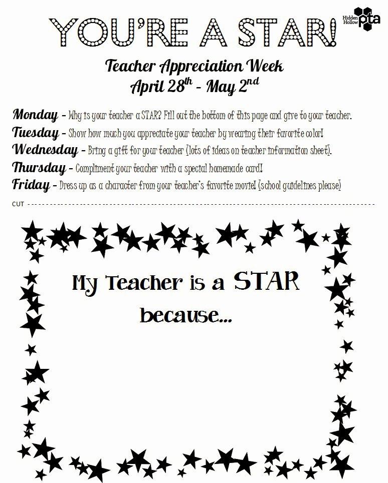 Employee Appreciation Day Flyer Template Elegant Hidden Hollow Hornets Pta Teacher Appreciation Week