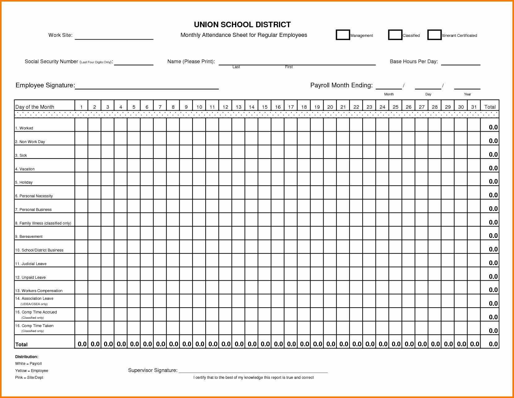 Employee attendance Record Template Awesome 4 Employee attendance Sheet