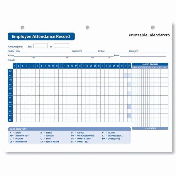Employee attendance Record Template Best Of Employee attendance Calendar 2017 Employee attendance