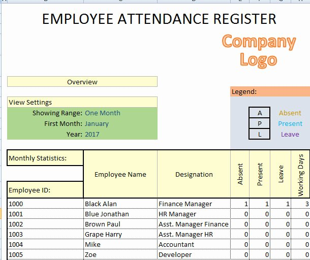 Employee attendance Record Template Best Of Printable Employees attendance Sheet In Excel format