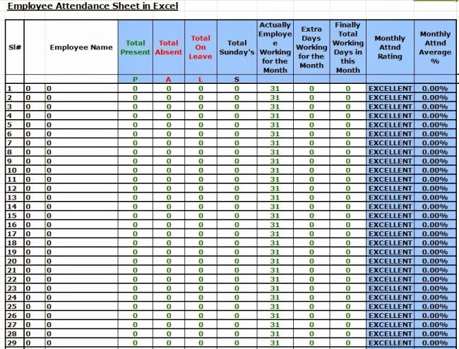 Employee attendance Record Template Inspirational 36 General attendance Sheet Templates In Excel Thogati