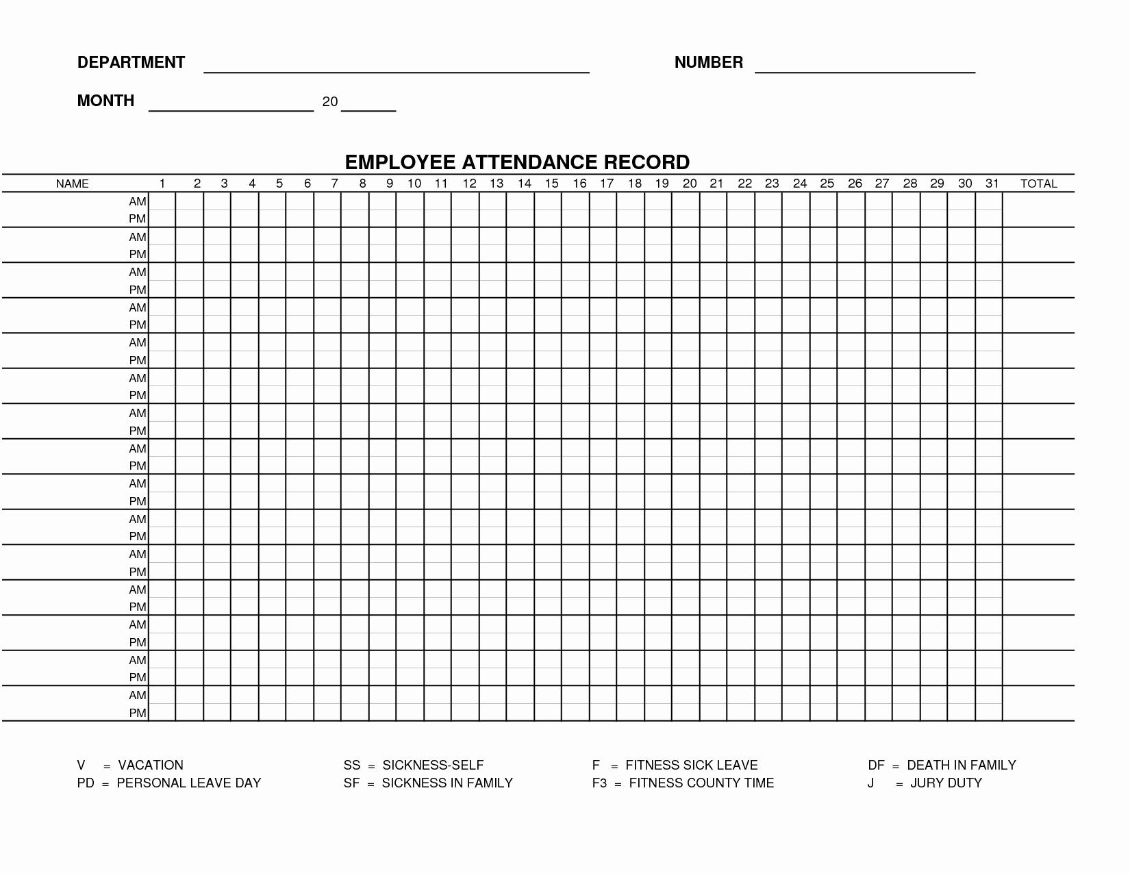 Employee attendance Record Template Lovely Free Work attendance Sheet Template