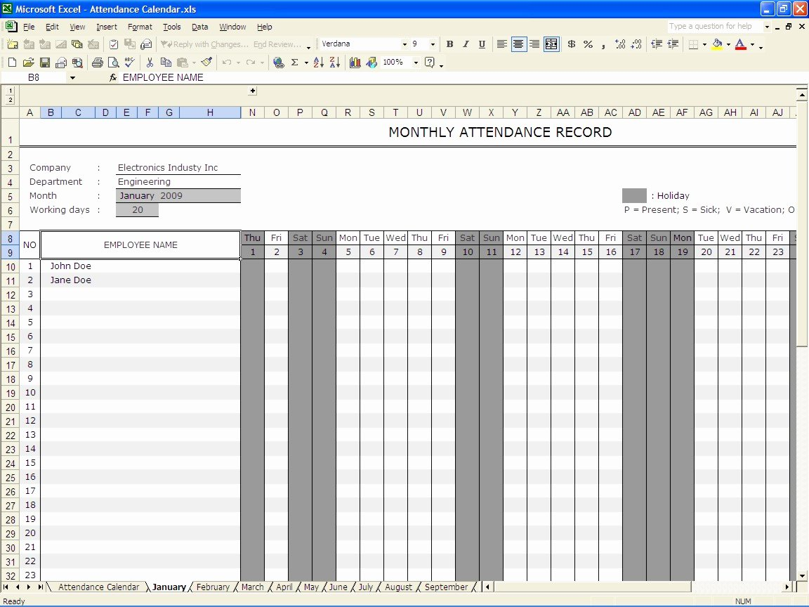 Employee attendance Records Template Best Of 36 General attendance Sheet Templates In Excel Thogati