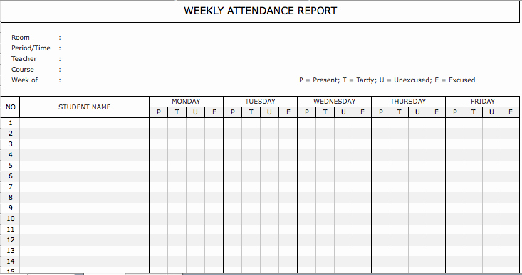 Employee attendance Records Template Elegant Free Suggested form Samples for Weekly attendance Sheet