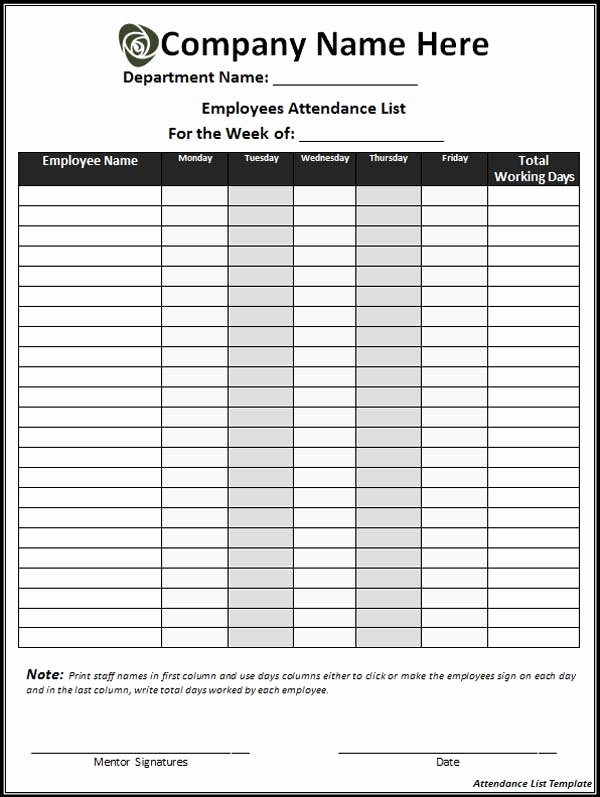 Employee attendance Records Template Luxury 10 Best Of Daily attendance Checklist Classroom