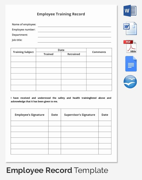 Employee attendance Records Template Luxury Employee Record Templates 32 Free Word Pdf Documents