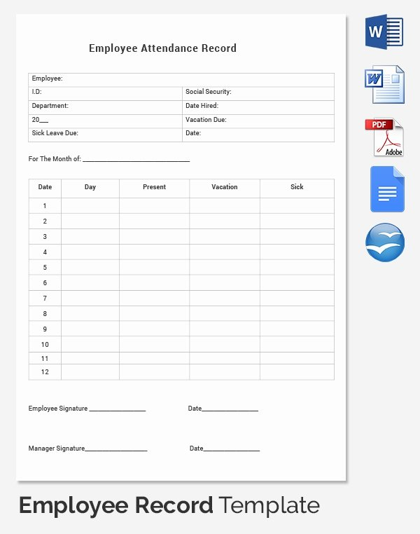 Employee attendance Records Template New Employee Earnings Record Template to Pin On