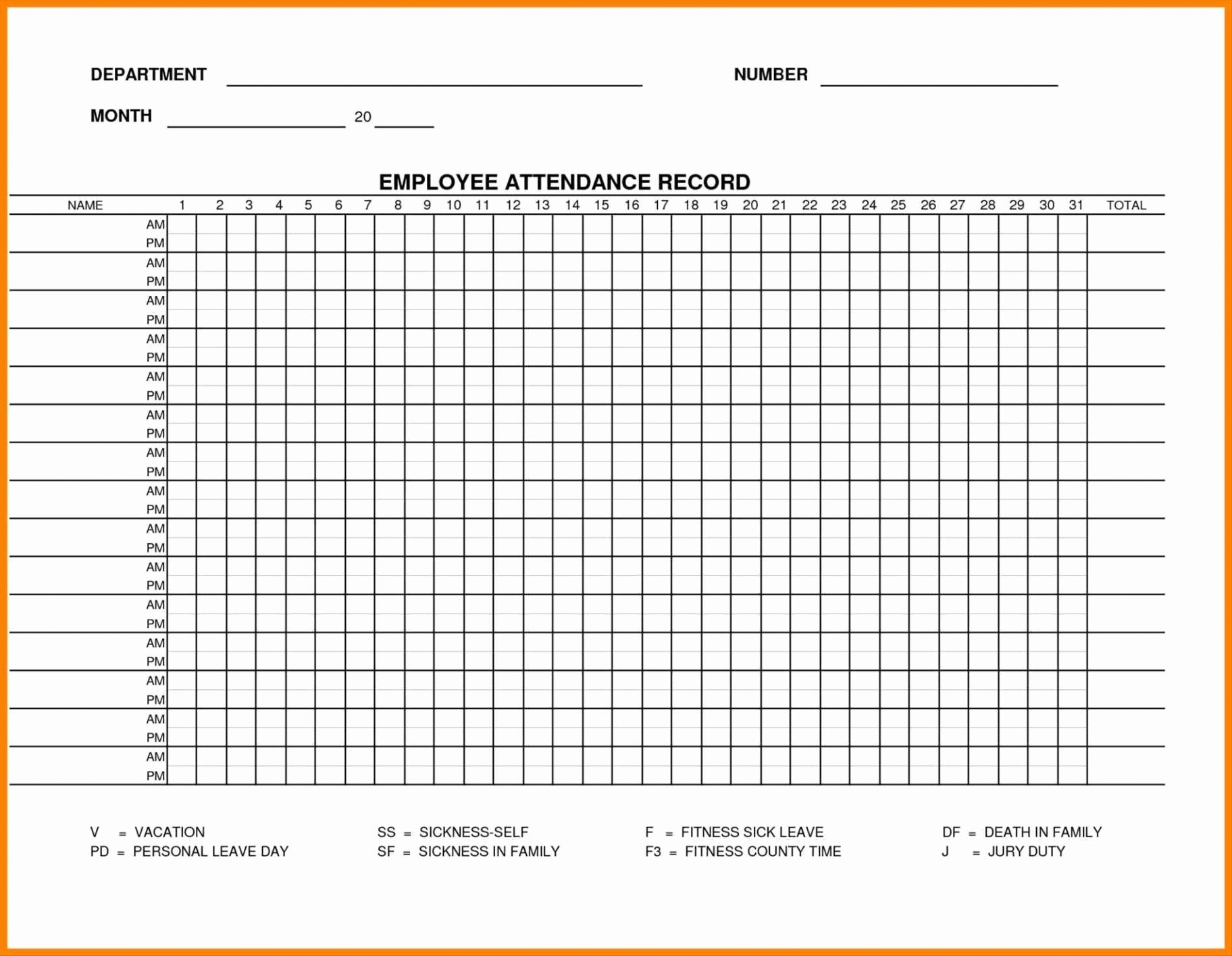Employee attendance Records Template Unique Printable Employee attendance Sheet Excel 2018