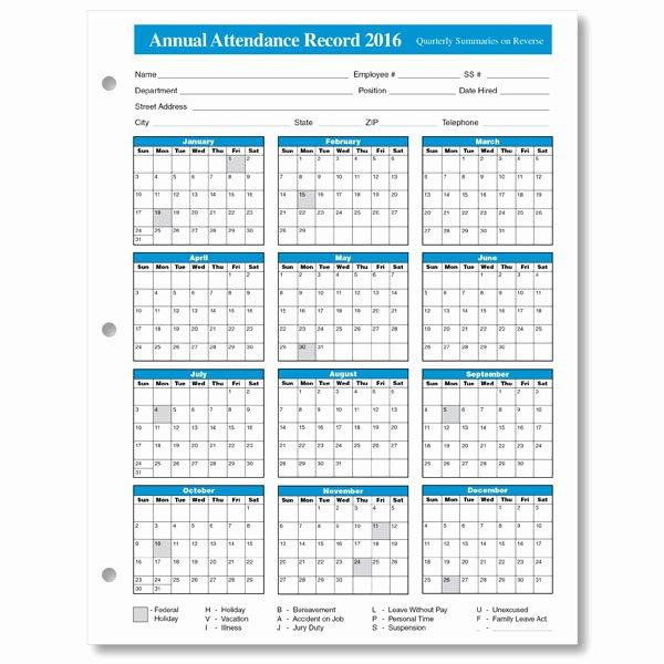 Employee attendance Tracker Template Beautiful Employee attendance Calendar