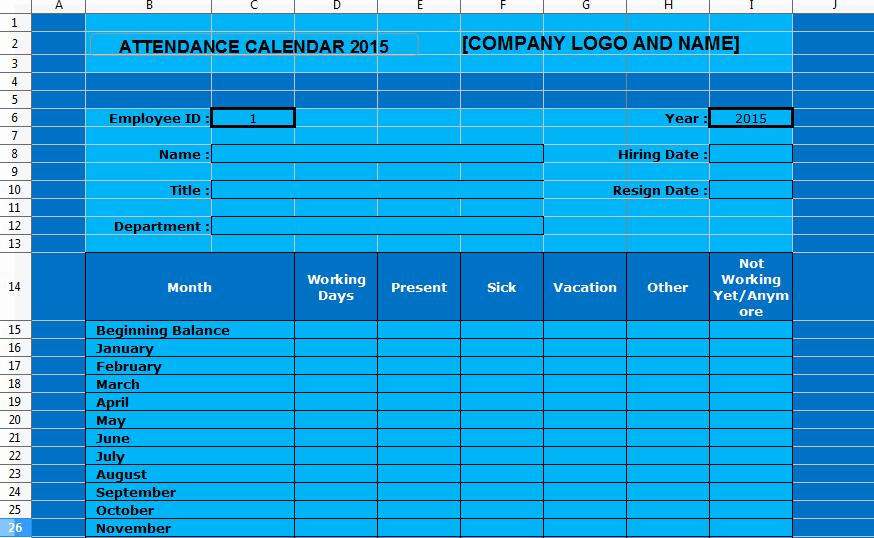 Employee attendance Tracker Template Inspirational Employee attendance Tracking Calendar Template 2015