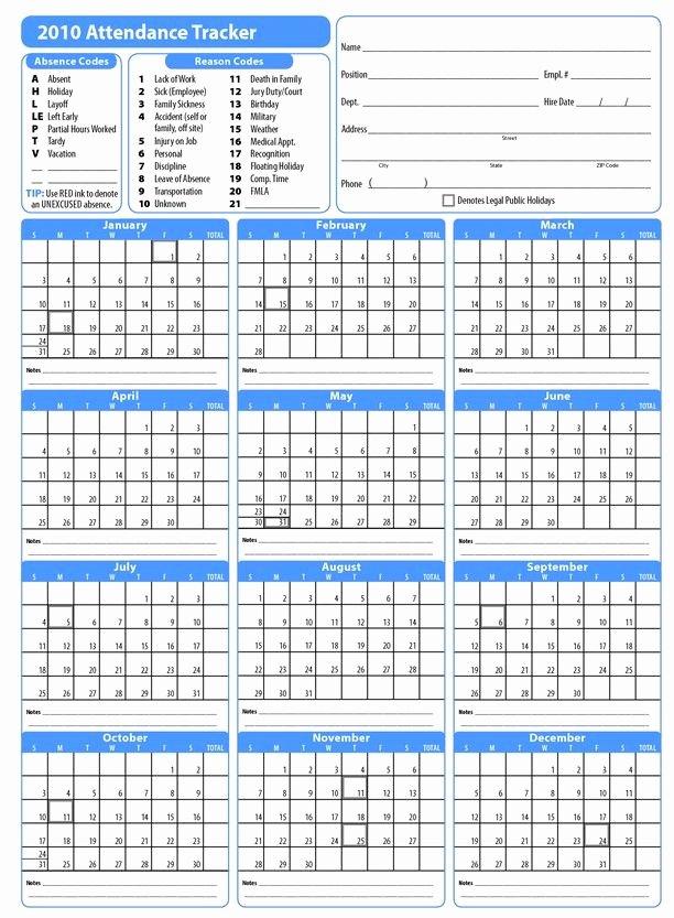 Employee attendance Tracker Template Inspirational Printable 2017 Employee attendance Calendar
