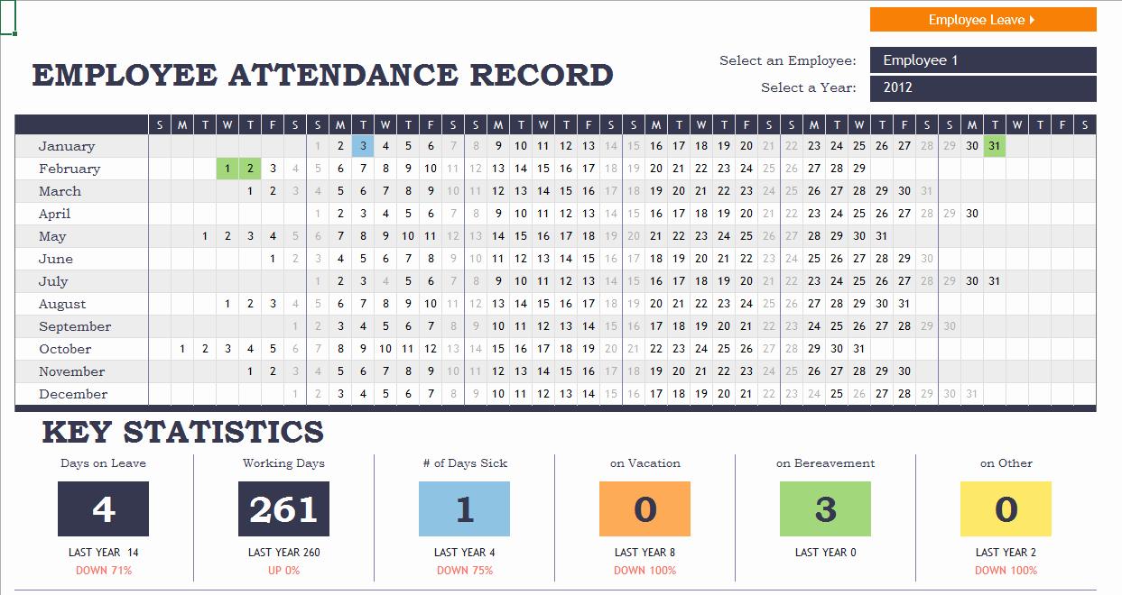 Employee attendance Tracker Template Lovely Employee attendance Tracker Excel Template