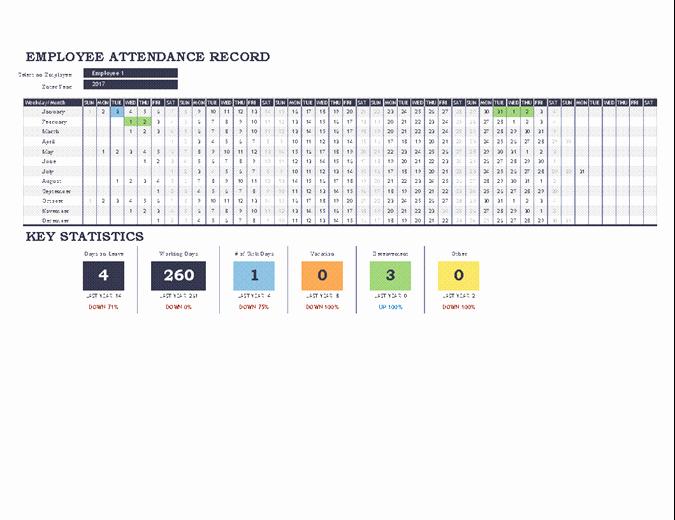 Employee attendance Tracker Template Lovely Employee attendance Tracker